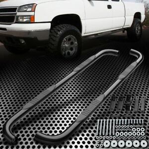 Fit 99 18 Silverado Sierra Extended Cab 3 Black Round Side Step Nerf Bars Steel