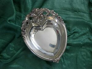Vintage Sterling Silver Wallace Grande Baroque Valentine Heart Shaped Dish