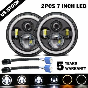 Pair 7 Inch 200w Led Headlight Halo Angle Eyes For Jeep Wrangler Cj Jk Lj 97 18