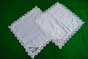 2 Antique Vintage Handkerchiefs Hanky Maltese Lace Bobbin Lace Hk27