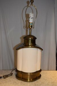 Vintage Hollywood Regency Solid Brass And Ceramic Urn Chapman Massive Lamp 1978