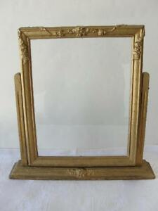 Vintage 1930s 1940s Wood Picture Frame On Swivel Stand Heavy Old Gold Painted