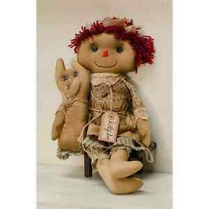 New Primitive Country Folk Art Tea Stained Raggedy Ann Kitty Cat Doll 16