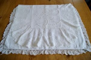 Antique Vintage White Linen Whitework Embroidered Nightdress Case Lace Trim