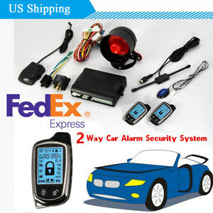 Us Stock Two Way Car Alarm Security System With Shock Sensor 2pcs Remote Control