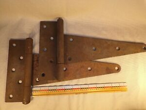 Pair Of Large Antique Barn Shed Gate Door Iron T Strap Hinge Hinges