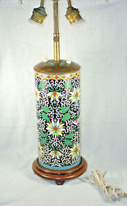 Outstanding Antique Meiji Japanese Cloisonne Cylinder Lamp Peony
