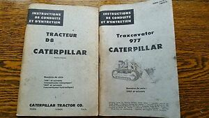 Vintage 2 Caterpillar Bulldozer Tractor D8 977 Diesel Motor Part Catalog French