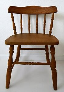 Antique English Spindle Back Kitchen Chair Country British Farmhouse 2