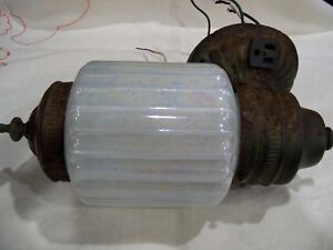 Antique Wall Scone Wired Painted Glass Shade Beauty