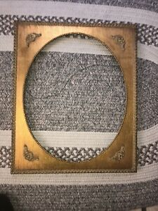 Vintage Large Gold Painted Wood Frame Oval With Plaster Design 20 X16