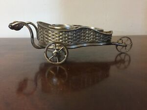 Victorian Silver Plate Table Trolley For Condiment Bottles Basketweave 19th C