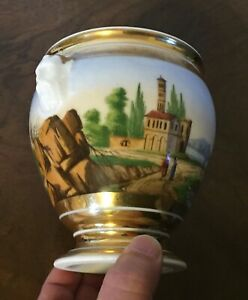 Antique Paris Porcelain Vase Sugar Bowl Landscape Painting Mask Handles 19th C