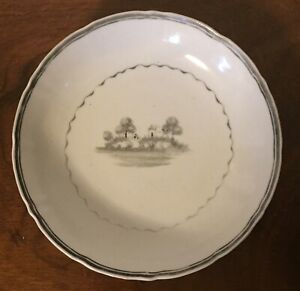Antique Early 19th C Chinese Export Porcelain Plate Saucer En Grisaille 1800