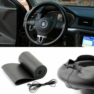New Black Leather Diy Car Steering Wheel Cover With Needles And Thread