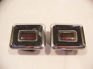 1968 Chrysler Imperial Rear Marker Lights Red Pair Lebaron Crown Coupe