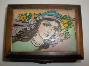 Vintage Persian Wood And Painted Leather Jewelry Box Princess