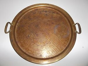 Antique Turkish Arabic Middle Eastern Brass Tray 15 25