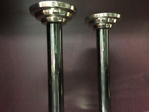 Vintage Modernist Pair Silver Plated Candlesticks Candleholders Tall Elegant
