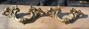 Pair Vintage Cast Brass Antique Style French Provincial Pulls Keller