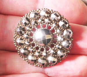 Antique Cut Steel Indiv Riveted Button 1 1 16 Very Shiny Addl Btns Ship Free