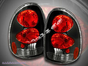 1996 98 2000 Dodge Caravan Voyager Durango Tail Lights Black