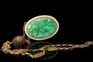 Old Chinese Apple Green Jadeite Seed Pearl Gilt Silver Pendant Necklace D111 02