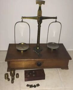 Vintage Chinese Apothecary Scale Brass Balance Opium Scale Wood Case W Weights