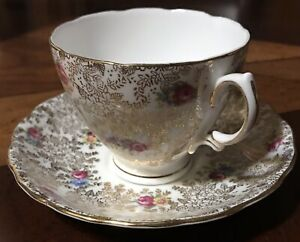 Mayfair Fine Bone China Chintz Gold Rose Pattern Tea Cup Saucer