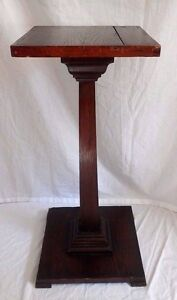 Antique Early Oak Wood Pedestal Plant Stand Square Craftsman Style 33 1 4 Tall