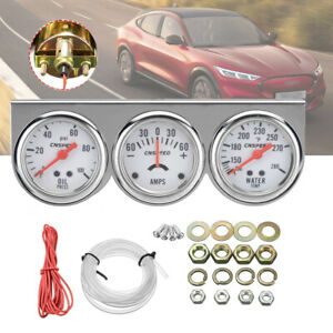 2 52mm Water Temperature Amp Meter Oil Pressure Triple Gauge 3in1 Kit Chrome