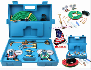 Oxy Acetylene Gas Burning Cutting welding Complete Kit Service Tools W Box