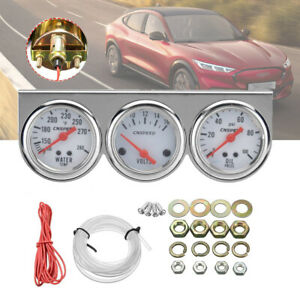 2 52mm Chrome Voltmeter Water Temperature Oil Pressure Triple Gauge Set 3in1