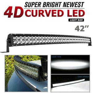 42 Inch Curved Led Light Bar Spot Flood Driving Pickup Atv Marine Off road 560w