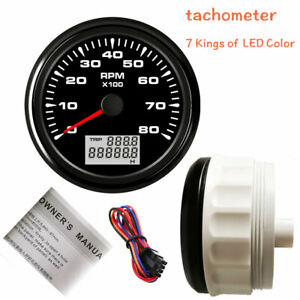 85mm Tachometer 8000rpm For Diesel Engine Tacho 7color Led Stainless Steel Black