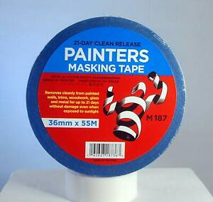 Merco M187 Blue Painters Masking Tape 36mm X 55m 21 Day Clean Release 24 Rolls