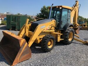 2003 Jd 710g Backhoe 4wd Cab Air Powershift Pilot Controls Very Good Condition