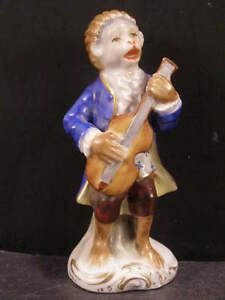 1800s Antique Sitzendorf Dresden German Porcelain Monkey Figure Statue Sculpture