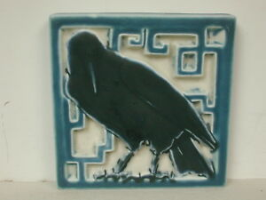 1927 Rookwood Square Rook Footed Trivet Tile In Blue And White 5 1 2 Square