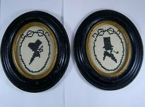 Pair Of Antique Victorian Silhouette Needlework Samplers Cast Iron Metal Frames