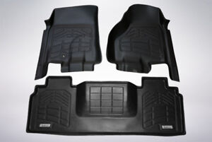 First Second Row Floor Mats In Black For 2006 2008 Dodge Ram 1500 Mega Cab