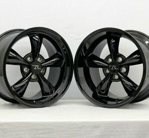 17 Full Gloss Black Deep Dish 94 04 Mustang Bullitt Wheels 17x9 17x10 5 5x114 3