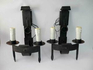 Pair Of Antique Vintage Wall Sconces Light Fixtures Heavy Wrought Cast Iron