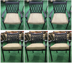 Patio Dining Chairs Set Of 6 Cast Aluminum Furniture Tuscany Sunbrella Cushions
