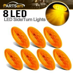 7pcs 4 2 5 Oval Amber Side Turn Side Marker For Peterbilt Replacement 8 Led
