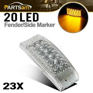 23x Faceted Combination Clearance Marker Led Lights Trailer 2 X 6 Clear amber