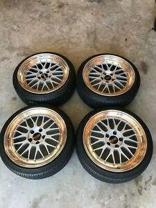 Authentic 2 Piece Bbs Lm Wheels Rims Staggered 18x8 18x9 With Tires 5x114 3 Gold