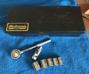 Vintage Herbrand Usa 1 4 Inch Socket Wrench Set Ratchet 22000 With Box Mint