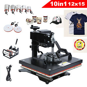 10 In 1 Heat Press Machine For T shirts 12 x15 Combo Kit Sublimation Swing Away