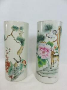 2 Lovely Chinese Wig Stands Porcelain Hand Painted Deer Birds Flowers Trees Vase